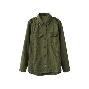 Zara khaki green military shirt jacket
